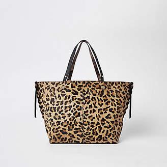 River Island Brown leopard print leather shopper