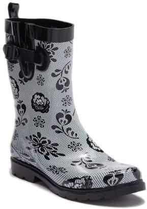 Capelli of New York Floral Lace Printed Rubber Mid Rain Boot