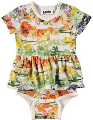 Molo Frannie Floral-Print Skirted Bodysuit, Size 3-12 Months