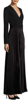 Diane von Furstenberg Long-Sleeve Pleated Wrap Gown