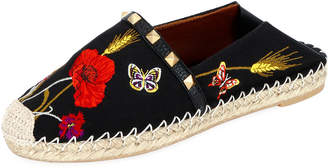 Valentino Flower and Butterfly Embroidered Slide Espadrilles