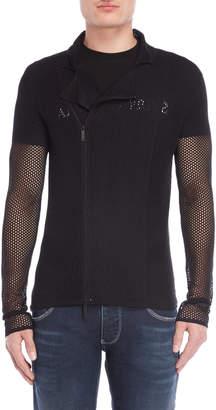 Emporio Armani Black Mesh Asymmetrical Jacket