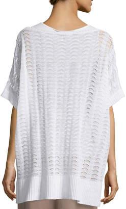 Joan Vass Short-Sleeve Scalloped Easy Sweater, White, Plus Size