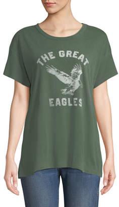 The Great The Boxy Crewneck Tee with Eagles Varsity Logo