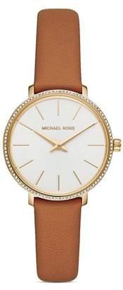Michael Kors Pyper Brown Leather Strap Watch, 38mm