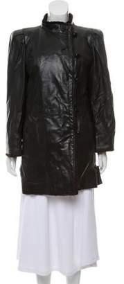 Saint Laurent Mink-Trimmed Leather Coat