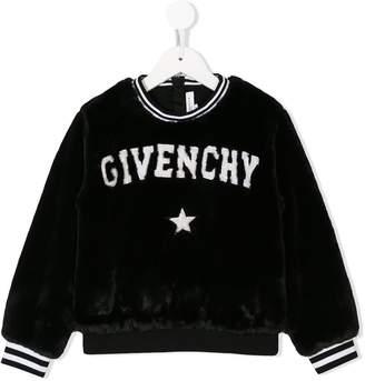 Givenchy Kids faux fur logo sweatshirt