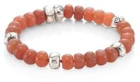 John Hardy Bamboo Peach Moonstone& Sterling Silver Bead Bracelet