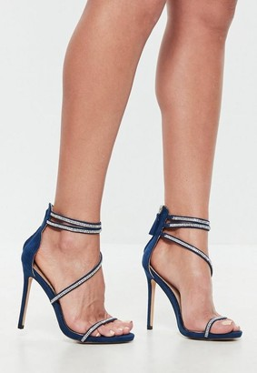 Missguided Navy Faux Suede Embellished Barely There Heels