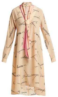 Natasha Zinko Tie-neck silk-georgette dress