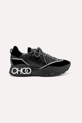 Jimmy Choo Raine Glittered Leather And Velvet Sneakers - Black