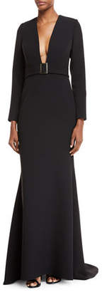 Badgley Mischka Plunging Long-Sleeve Belted Gown