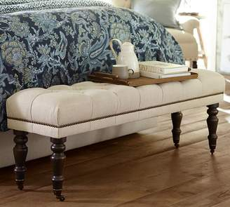 Pottery Barn Raleigh Tufted Queen Bench with Nailheads