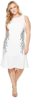 Adrianna Papell Plus Size Knit Crepe Embroidered Trumpet Dress Women's Dress