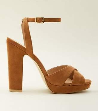80b039b5b0f New Look Tan Suedette Cross Strap Platform Block Heels