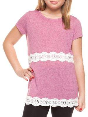 Dex Girl's Crochet-Trim Tunic Tee