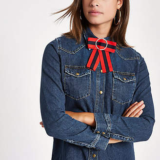 River Island Dark blue denim fitted bow shirt