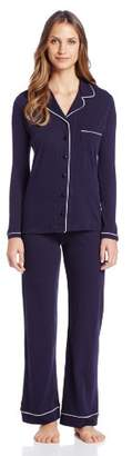 Only Hearts Women's Maternity Organic Cotton Piped Pajama, Navy/White