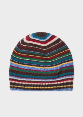 26514e53464 Paul Smith Men s Signature Stripe Wool-Cashmere Beanie Hat