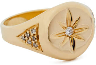 Jacquie Aiche Gold Center-Burst Signet Ring