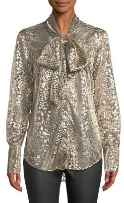 Equipment Luis Tie-Neck Long-Sleeve Metallic Leopard Burnout Blouse