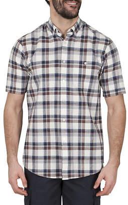 Haggar Short Sleeve Plaid Linen-Blend Shirt