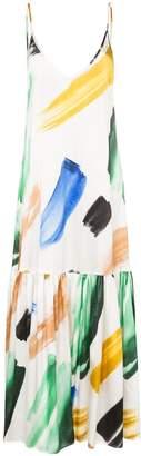 Leone We Are Elke brush stroke-print silk maxi dress
