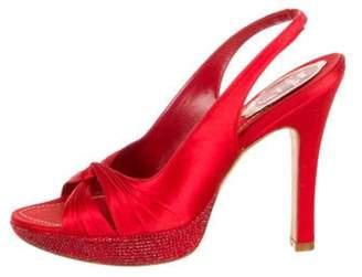 René Caovilla Satin Crystal-Embellished Sandals Red René Caovilla Satin Crystal-Embellished Sandals