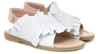 Fendi Kids MANIA leather sandals
