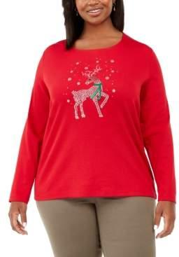 Karen Scott Plus Size Deer Decor Embellished Top, Created For Macy's