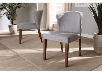 Baxton Studio Set of 2 Cassie Mid-Century Modern Walnut Wood Light Gray Fabric Dining Chair