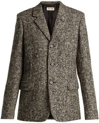 Saint Laurent Single-breasted herrigbone wool blazer