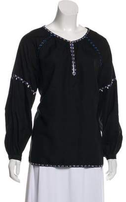 Hatch Embroidered Trim Blouse