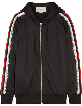 Gucci Swarovski Crystal-embellished Striped Tech-jersey Hoodie - Black