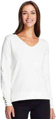 Izod Women's Button-Accent V-Neck Sweater