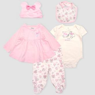 Disney Baby Girls' Mickey Mouse & Friends Minnie Mouse 5pc Bodysuit and Lounge Pants Set - Pink/White