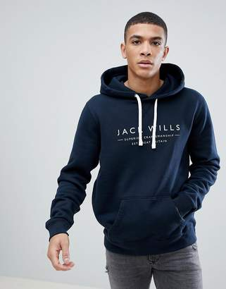 Jack Wills Batsford Graphic Popover Hoodie In Navy