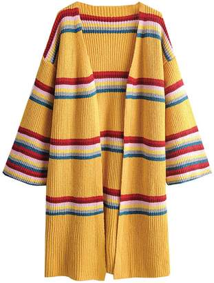Goodnight Macaroon 'Rebecca' Rainbow Striped Open Cardigan