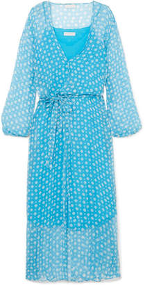 Cloe Cassandro Jemima Printed Silk-crepon Wrap Midi Dress