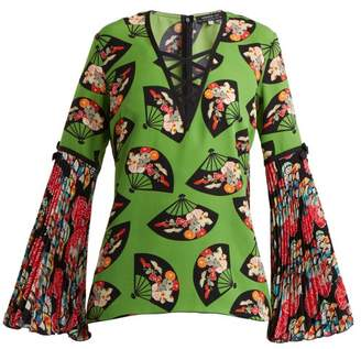 Andrew Gn Flared Sleeve Fan Print Silk Top - Womens - Green Multi