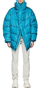 Balenciaga Men's Down-Quilted Oversized Puffer Coat - Turquoise