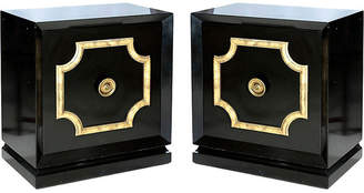 One Kings Lane Vintage Black Lacquer Cabinets - Set of 2
