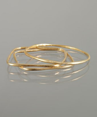 Kevia set of 3 - gold gilded square and round bangles