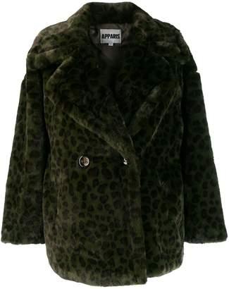 Apparis oversized leopard print coat