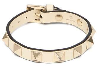 Valentino Rockstud Embellished Leather Bracelet - Womens - Ivory