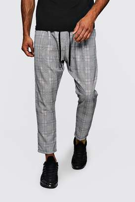 boohoo Woven Checked Jogger With Red Stripe