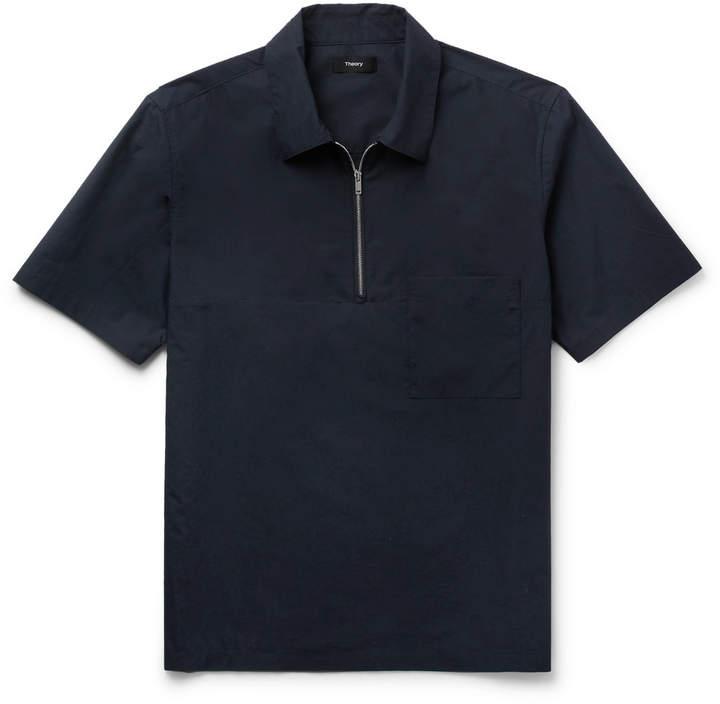 Mercerised Cotton and Linen-Blend Half-Zip Shirt
