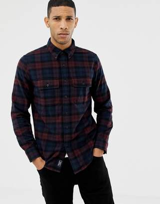 Abercrombie & Fitch two pocket check flannel shirt slim fit in burgundy/navy