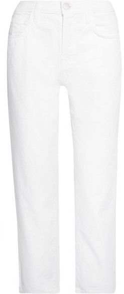J Brand - Ivy Cropped High-rise Straight-leg Jeans - White
