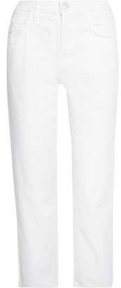 J Brand Ivy Cropped High-rise Straight-leg Jeans - White
